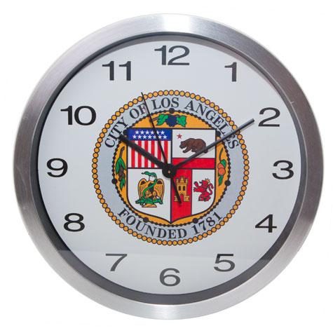 "10"" Chrome Wall Clock w/City Seal"