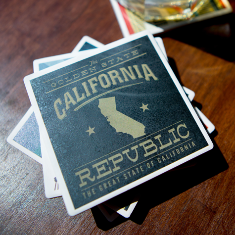 California Republic Gold on Black Coaster Set