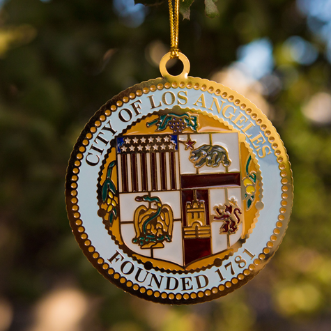 Etched Metal City Seal Ornament